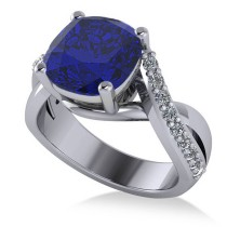 Twisted Cushion Blue Sapphire Engagement Ring 14k White Gold (4.16ct)