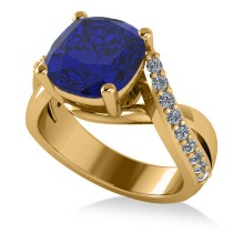Twisted Cushion Blue Sapphire Engagement Ring 14k Yellow Gold (4.16ct)