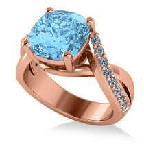 Twisted Cushion Blue Topaz Engagement Ring 14k Rose Gold (4.16ct)