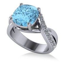 Twisted Cushion Blue Topaz Engagement Ring 14k White Gold (4.16ct)