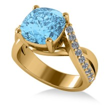 Twisted Cushion Blue Topaz Engagement Ring 14k Yellow Gold (4.16ct)