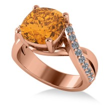 Twisted Cushion Citrine Engagement Ring 14k Rose Gold (4.16ct)