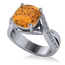 Twisted Cushion Citrine Engagement Ring 14k White Gold (4.16ct)