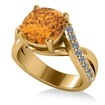 Twisted Cushion Citrine Engagement Ring 14k Yellow Gold (4.16ct)