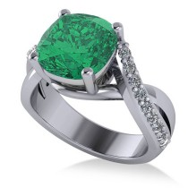 Twisted Cushion Emerald Engagement Ring 14k White Gold (4.16ct)