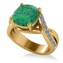 Twisted Cushion Emerald Engagement Ring 14k Yellow Gold (4.16ct)