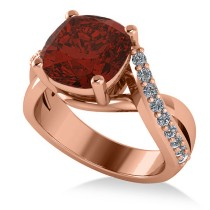 Twisted Cushion Garnet Engagement Ring 14k Rose Gold (4.16ct)