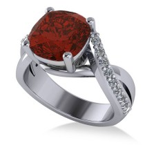 Twisted Cushion Garnet Engagement Ring 14k White Gold (4.16ct)