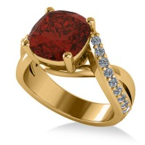 Twisted Cushion Garnet Engagement Ring 14k Yellow Gold (4.16ct)