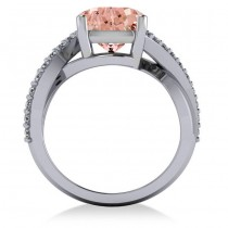 Twisted Cushion Pink Morganite Engagement Ring 14k White Gold (4.16ct)