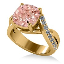 Twisted Cushion Pink Morganite Engagement Ring 14k Yellow Gold (4.16ct)