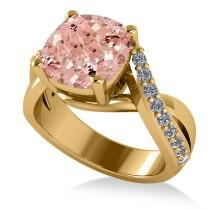 Twisted Cushion Pink Morganite Engagement Ring 14k Yellow Gold (4.16ct)