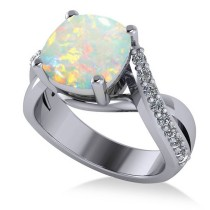 Twisted Cushion Opal Engagement Ring 14k White Gold (4.16ct)
