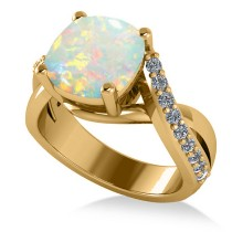 Twisted Cushion Opal Engagement Ring 14k Yellow Gold (4.16ct)