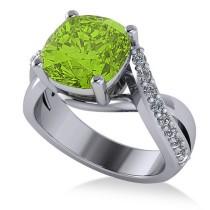Twisted Cushion Peridot Engagement Ring 14k White Gold (4.16ct)