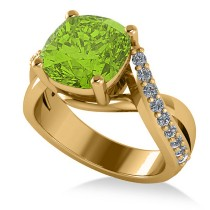 Twisted Cushion Peridot Engagement Ring 14k Yellow Gold (4.16ct)