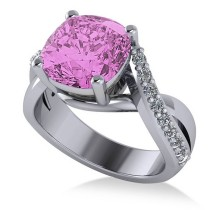 Twisted Cushion Pink Sapphire Engagement Ring 14k White Gold (4.16ct)