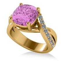 Twisted Cushion Pink Sapphire Engagement Ring 14k Yellow Gold (4.16ct)