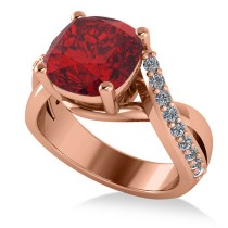 Twisted Cushion Ruby Engagement Ring 14k Rose Gold (4.16ct)