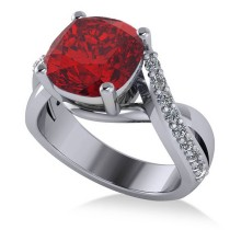 Twisted Cushion Ruby Engagement Ring 14k White Gold (4.16ct)