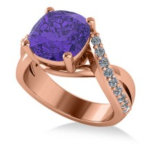 Twisted Cushion Tanzanite Engagement Ring 14k Rose Gold (4.16ct)