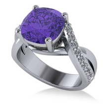 Twisted Cushion Tanzanite Engagement Ring 14k White Gold (4.16ct)
