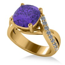 Twisted Cushion Tanzanite Engagement Ring 14k Yellow Gold (4.16ct)