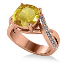 Twisted Cushion Yellow Sapphire Engagement Ring 14k Rose Gold (4.16ct)
