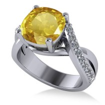 Twisted Cushion Yellow Sapphire Engagement Ring 14k White Gold (4.16ct)