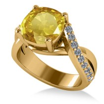 Twisted Cushion Yellow Sapphire Engagement Ring 14k Yellow Gold (4.16ct)