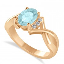 Oval Cut Aquamarine & Diamond Engagement Ring With Split Shank 14k Rose Gold (1.69ct)