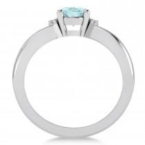 Oval Cut Aquamarine & Diamond Engagement Ring With Split Shank 14k White Gold (1.69ct)