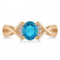 Oval Cut Blue & White Diamond Engagement Ring With Split Shank 14k Rose Gold (1.59ct)