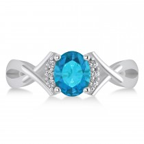 Oval Cut Blue & White Diamond Engagement Ring With Split Shank 14k White Gold (1.59 ct)