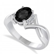 Oval Cut Black & White Diamond Engagement Ring With Split Shank 14k White Gold (1.59 ct)