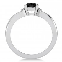 Oval Cut Black & White Diamond Engagement Ring With Split Shank 14k White Gold (1.59 ct)|escape