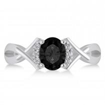Oval Cut Black & White Diamond Engagement Ring With Split Shank 14k White Gold (1.59 ct)