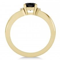 Oval Cut Black & White Diamond Engagement Ring With Split Shank 14k Yellow Gold (1.59 ct)