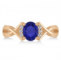 Oval Cut Blue Sapphire & Diamond Engagement Ring With Split Shank 14k Rose Gold (1.69ct)