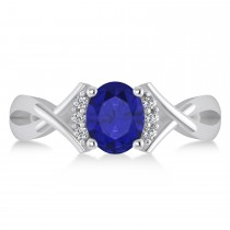 Oval Cut Blue Sapphire & Diamond Engagement Ring With Split Shank 14k White Gold (1.69ct)