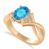 Oval Cut Blue Topaz & Diamond Engagement Ring With Split Shank 14k Rose Gold (1.69ct)