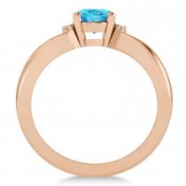 Oval Cut Blue Topaz & Diamond Engagement Ring With Split Shank 14k Rose Gold (1.69ct)
