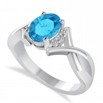 Oval Cut Blue Topaz & Diamond Engagement Ring With Split Shank 14k White Gold (1.69ct)
