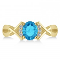 Oval Cut Blue Topaz & Diamond Engagement Ring With Split Shank 14k Yellow Gold (1.69ct)