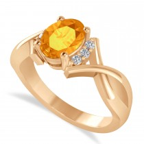 Oval Cut Citrine & Diamond Engagement Ring With Split Shank 14k Rose Gold (1.69ct)