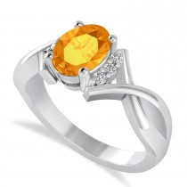 Oval Cut Citrine & Diamond Engagement Ring With Split Shank 14k White Gold (1.69ct)