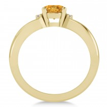 Oval Cut Citrine & Diamond Engagement Ring With Split Shank 14k Yellow Gold (1.69ct)