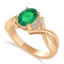 Oval Cut Emerald & Diamond Engagement Ring With Split Shank 14k Rose Gold (1.69ct)