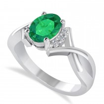 Oval Cut Emerald & Diamond Engagement Ring With Split Shank 14k White Gold (1.69ct)