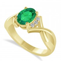 Oval Cut Emerald & Diamond Engagement Ring With Split Shank 14k Yellow Gold (1.69ct)